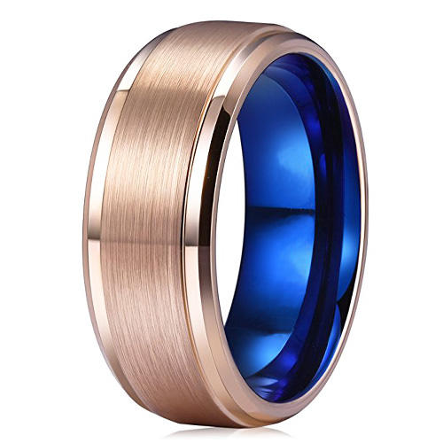 Women Unisex Tungsten Ring Rose Gold and Blue 6mm 8mm