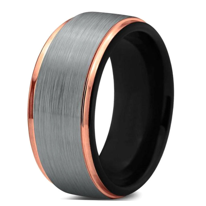 Tungsten Ring Cost 9mm Black and Rose Gold Wedding Band for Men