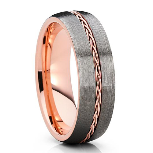 JaneE shiny polished rose gold tungsten mens wedding band exquisite for wedding-1