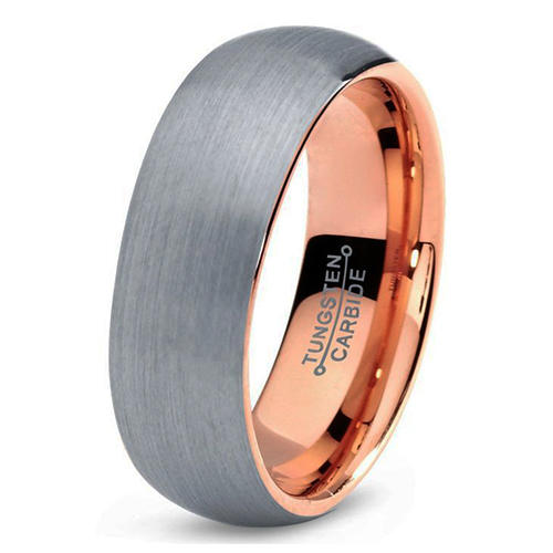 Domed Rose Gold Tungsten Carbide Wedding Bands for Women 6mm