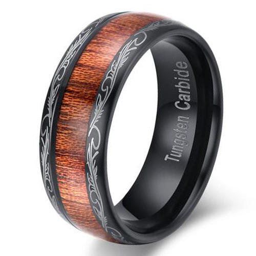 Custom Tungsten Hawaii Koa Wood Inlay Wedding Band Ring