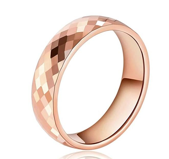 Faceted Tungsten Wedding Bands for Women Rose Gold
