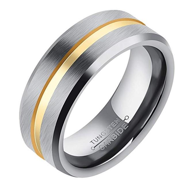 Biker Rings Gold Groove Silver Tungsten Carbide