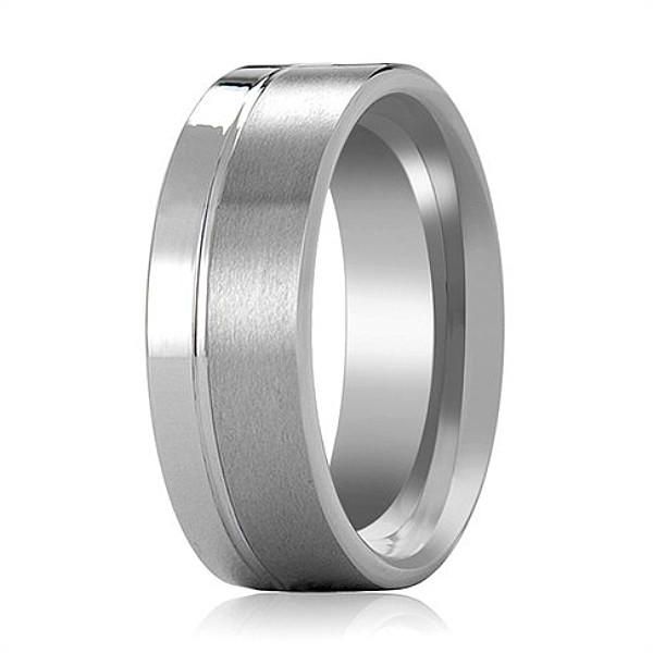 Gay Boy Men Wedding Band Polished and Brushed Tungsten Ring