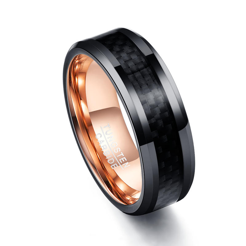 Black Carbon Fiber Tungsten Wedding Ring for Men Women