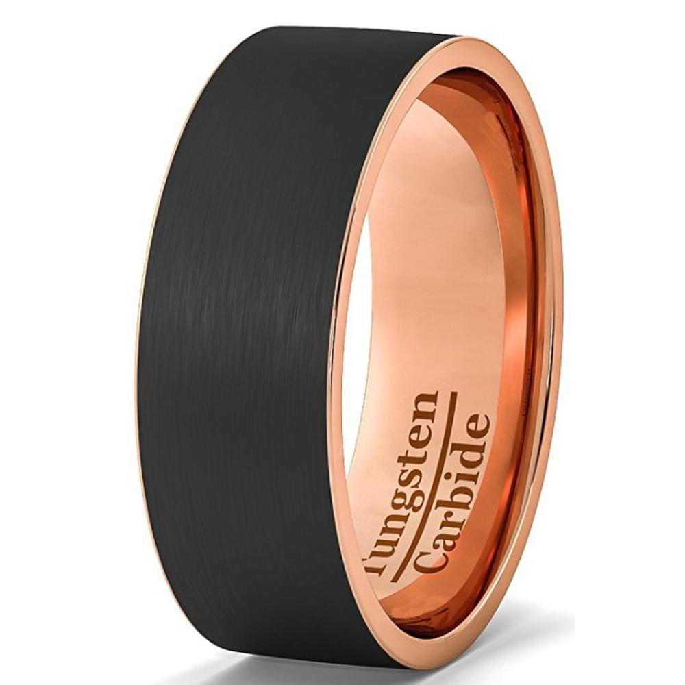 Punk Ring Pipe Cut Black and Rose Gold Tungsten Carbide