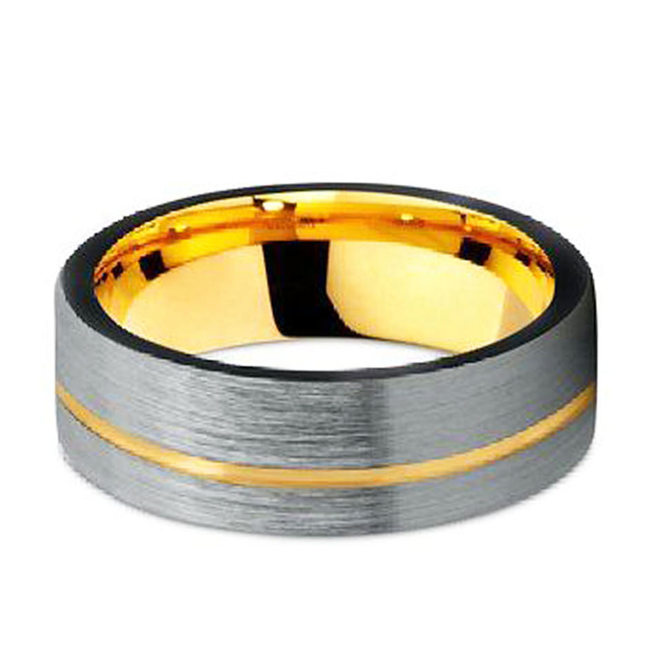 Gold and Black Tungsten Wedding Band Guy Ring