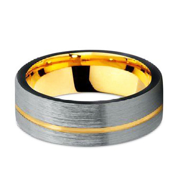 JaneE koa wood wood tungsten ring engraved for engagement-2