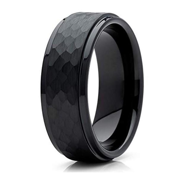 Black Hammered Tungsten Carbide Wedding Band Rings for Men