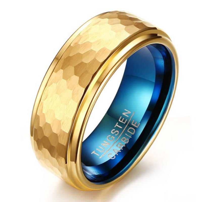 Men's Luxury Gold and Blue Hammered Tungsten Wedding Ring