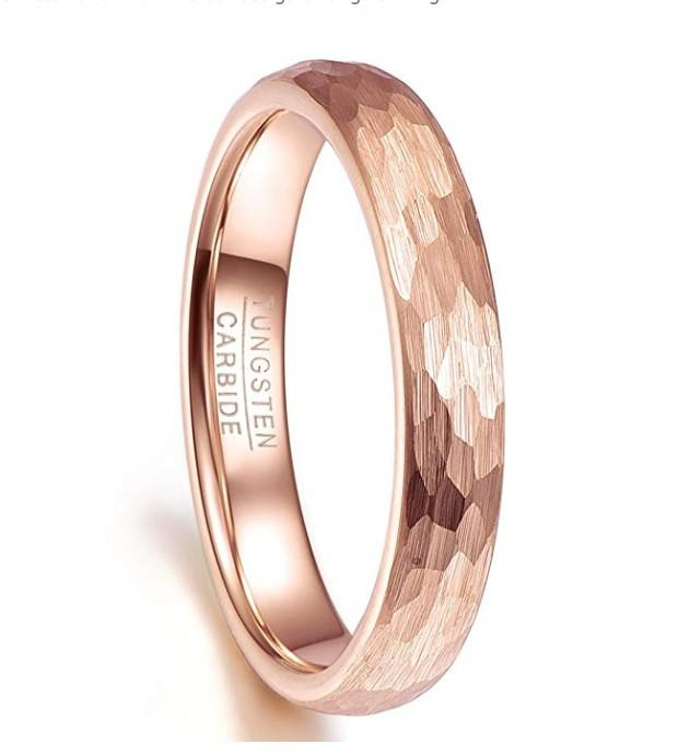 Hammered Rose Gold Tungsten Wedding Band Ring for Women 2mm 4mm 8mm