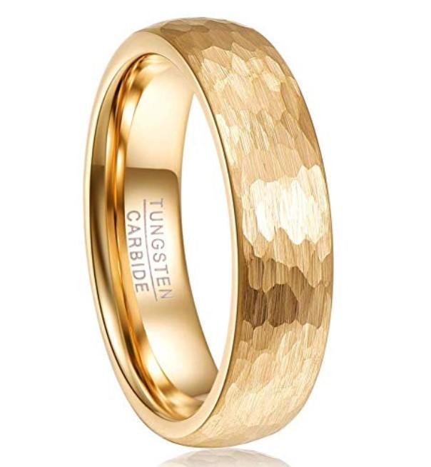2mm 4mm 6mm 8mm Tungsten Wedding Ring Gold Plating Hammered