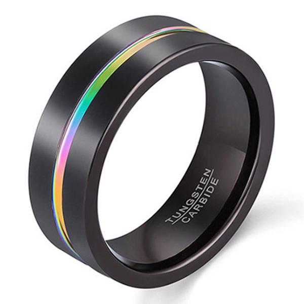 Rainbow Tungsten Carbide Ring Black Plating