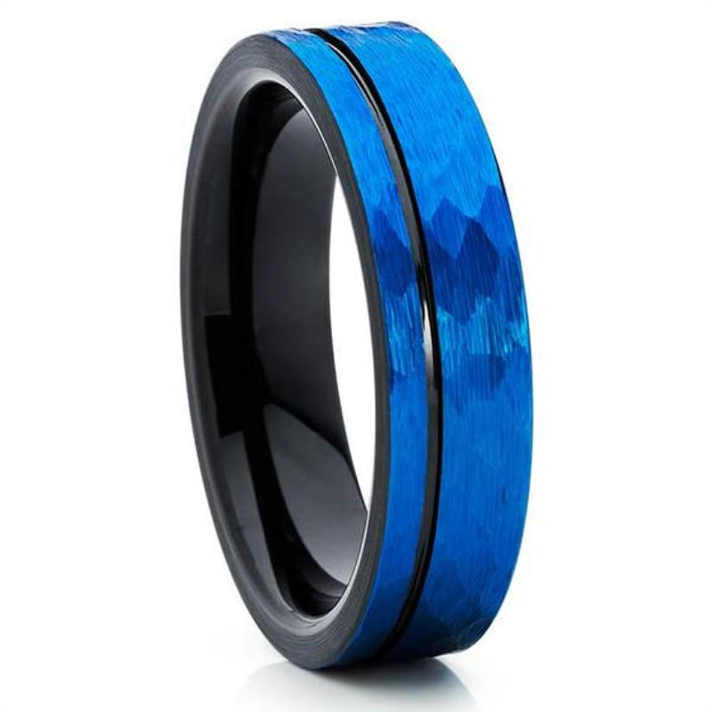 Christmas Gift for Men Hammered Blue and Black Tungsten Ring