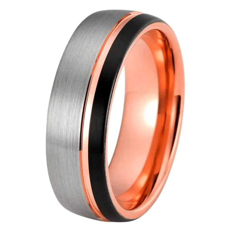 Produce Silver and Blue Dome Tungsten Carbide Gay Wedding Rings