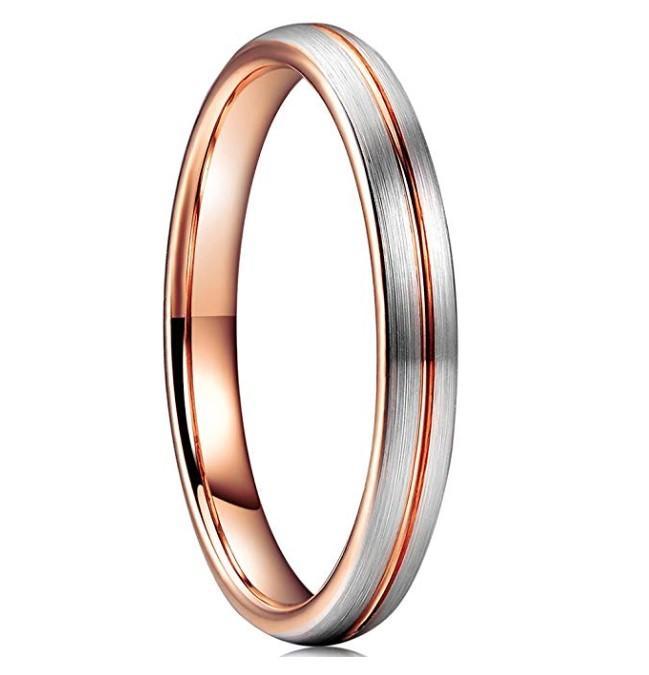 Custom 4mm Women Wedding Band Tungsten Carbide Rings