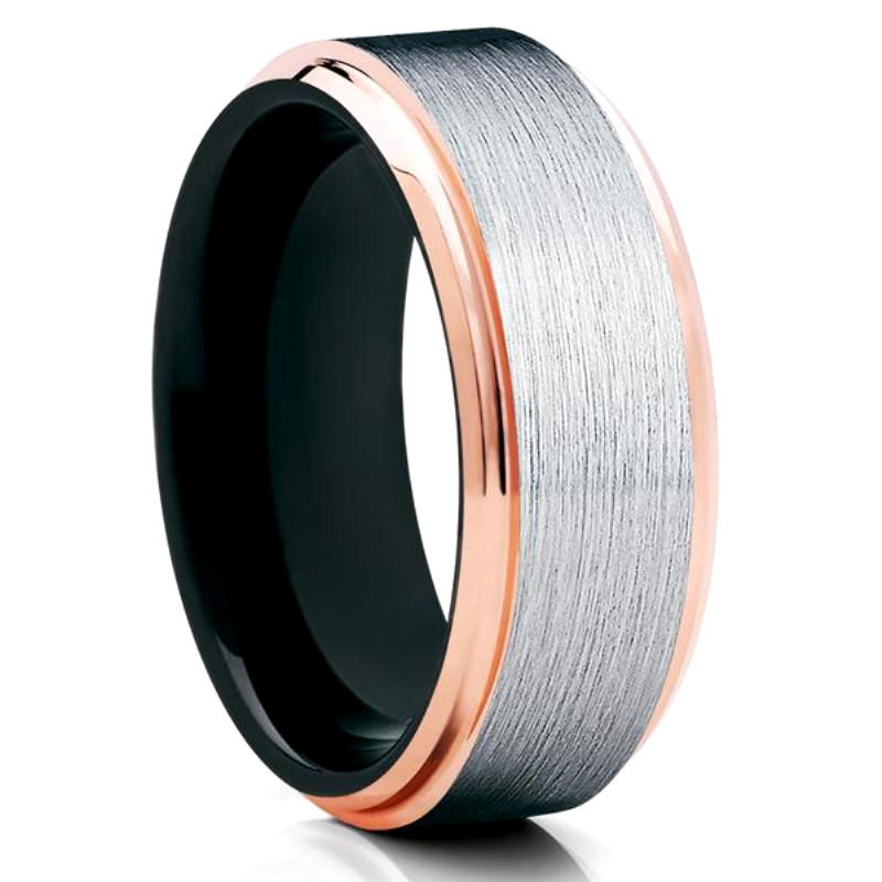 Mens Tungsten Ring Beveled Step Rose Gold Edge