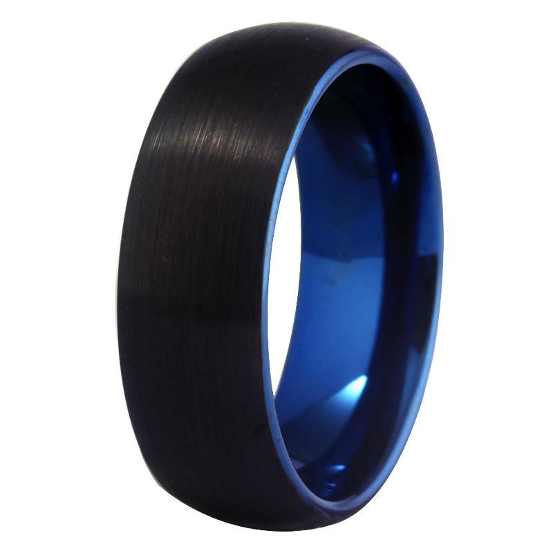 Two Tone Mens Tungsten Band Black and Blue Color