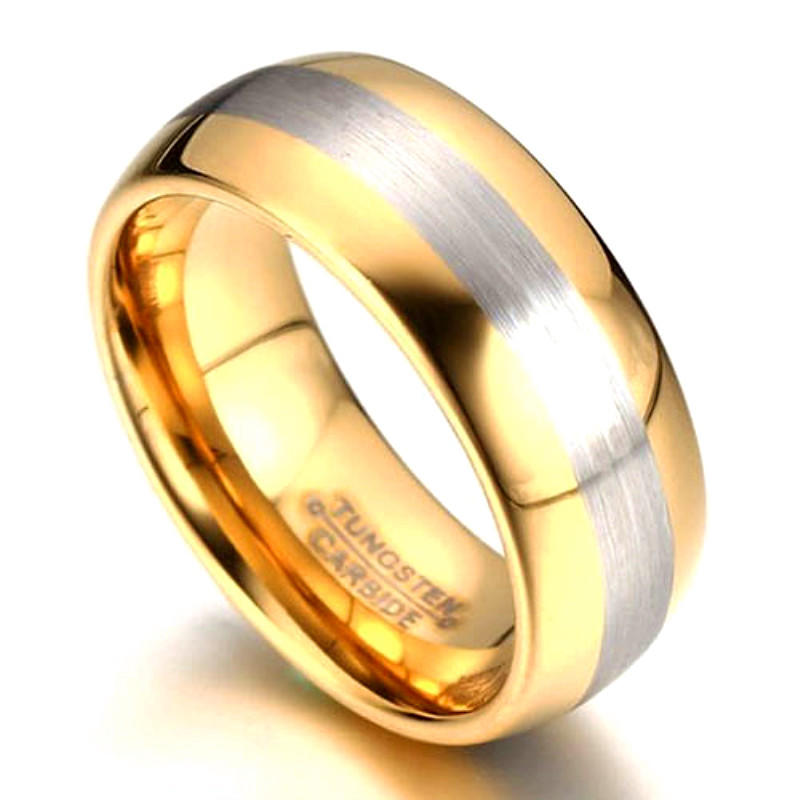 Unique Center Brushed Mens Gold Tungsten Ring Factory