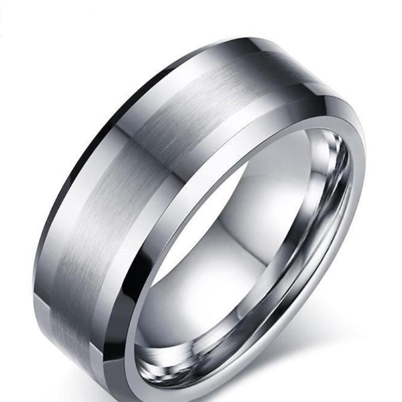 Custom Anniversary Gift Men Jewelry Brushed Tungsten Carbide Ring