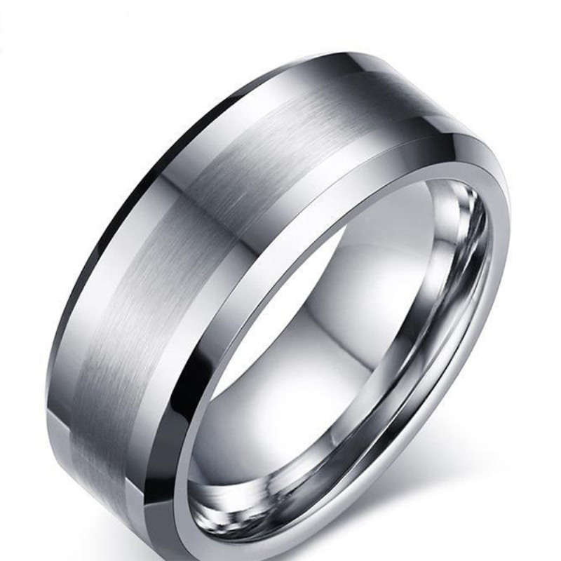shiny polished black wedding rings for men two tones engraved for gift-1
