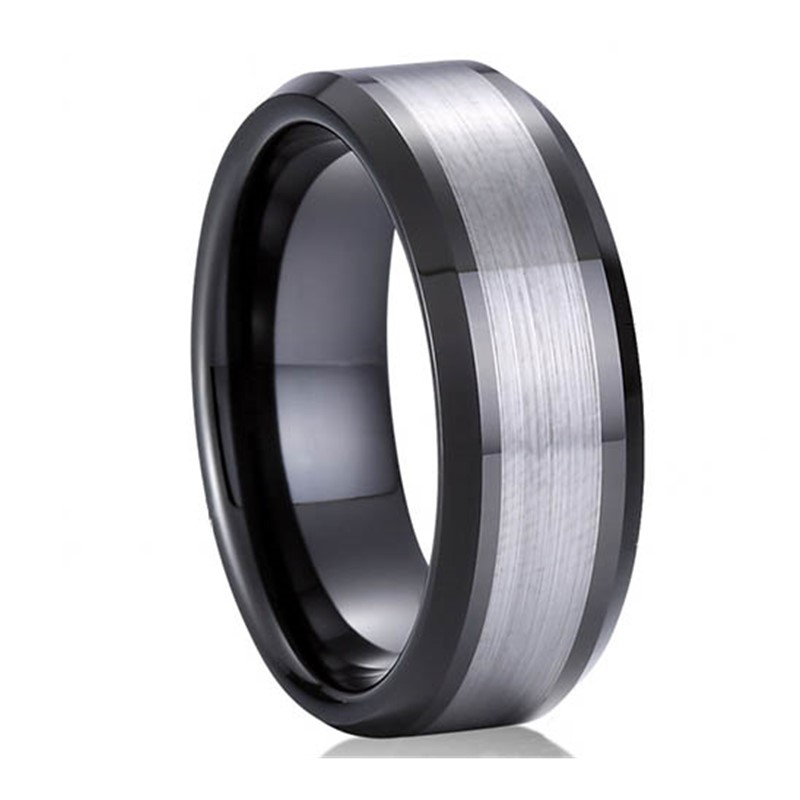 multi colors tungsten carbide ring damascus texture matt for gift-2