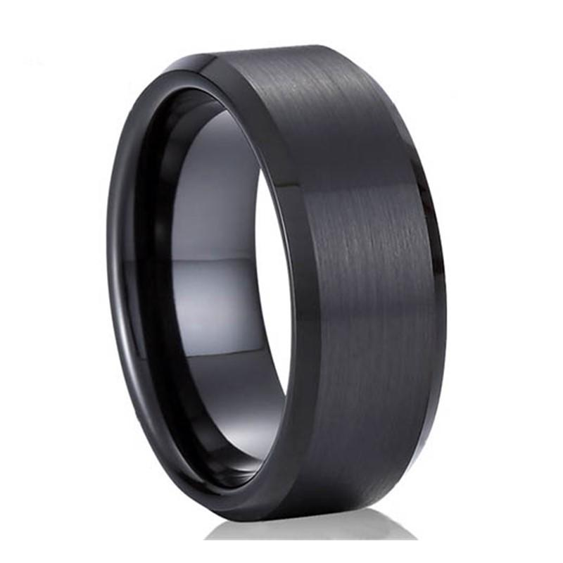 Custom Black 316L Stainless Steel Mens Ring Comfort Fit