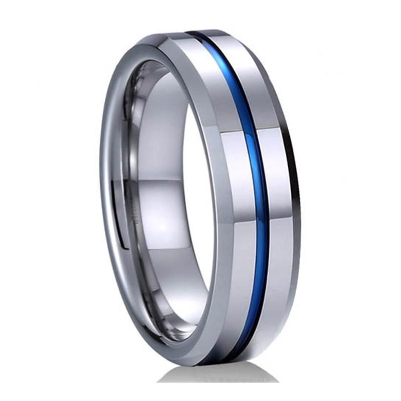 Guys Fashion Jewelry Blue Groove Tungsten Ring for 2019