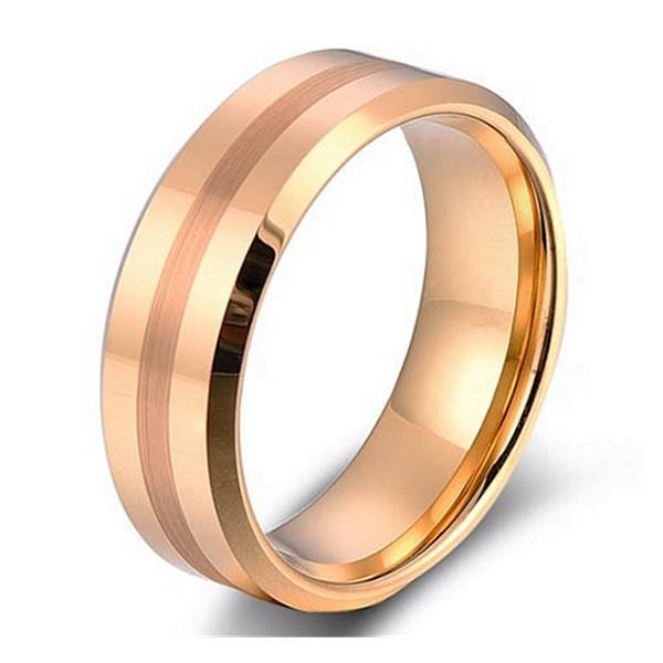 Cheap Mens Gold Plating Tungsten Carbide Wedding Ring