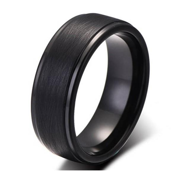 Bulk Production Black Tungsten Carbide Wedding Rings Supplier Rude Brushed