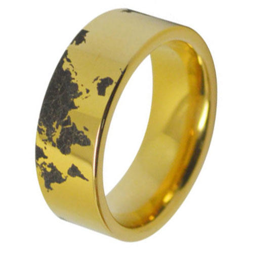 Unique  World Map Tungsten Carbide Rings Supplier