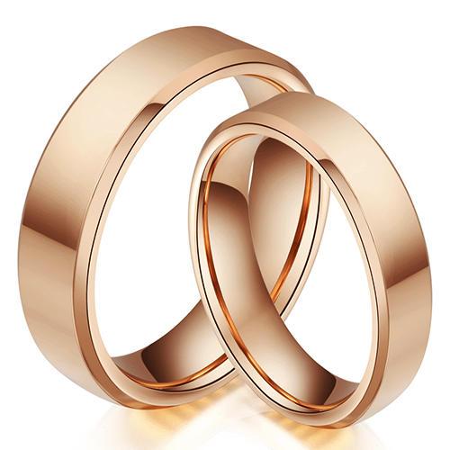 Polished Rose Gold Tungsten Wedding Ring Set China Supplier