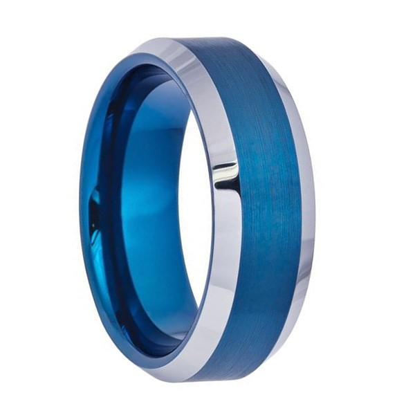 Silver Edge Blue Tungsten Carbide Men's Ring