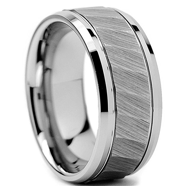 unique design tungsten rings for her koa wood exquisite for engagement-1