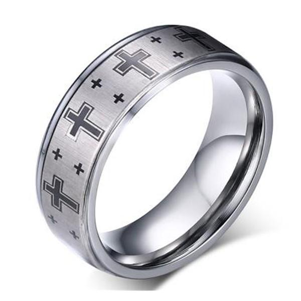 Engreavable Jewelry Tungsten Cross Mens Ring