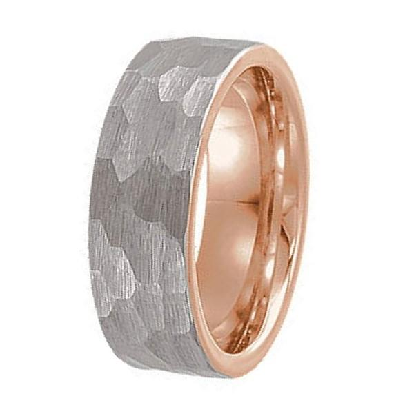Tungsten Carbide Rings Manufacturer Hammered Rose Gold Band