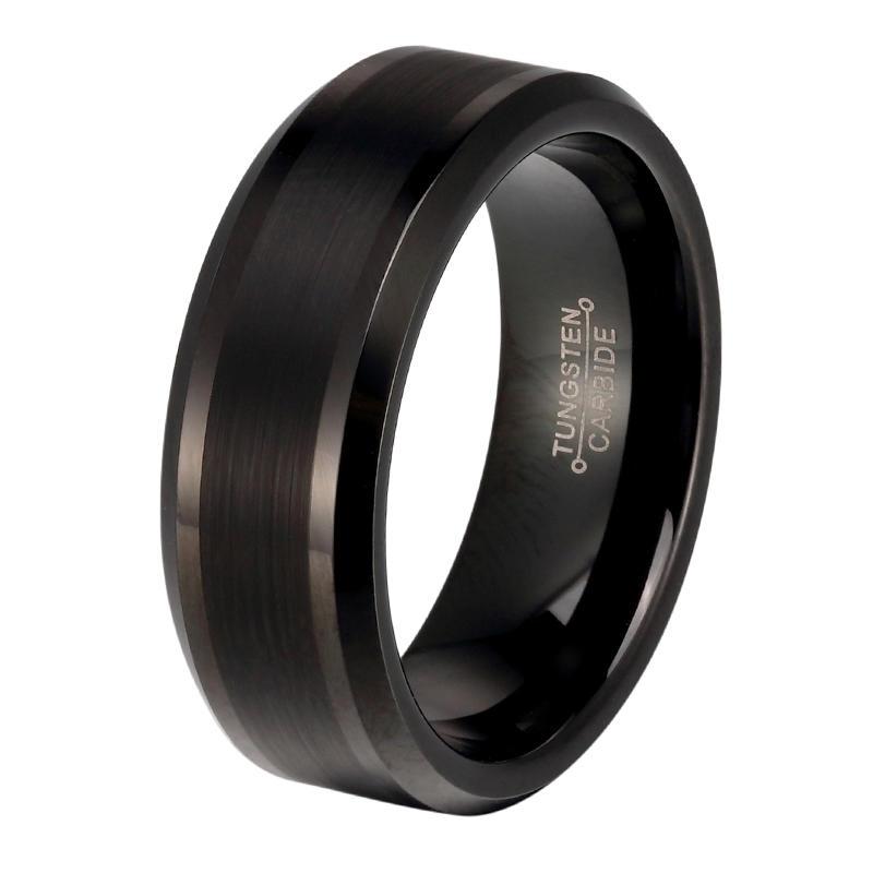 Center Brushed Black Tungsten Carbide Wedding Bands