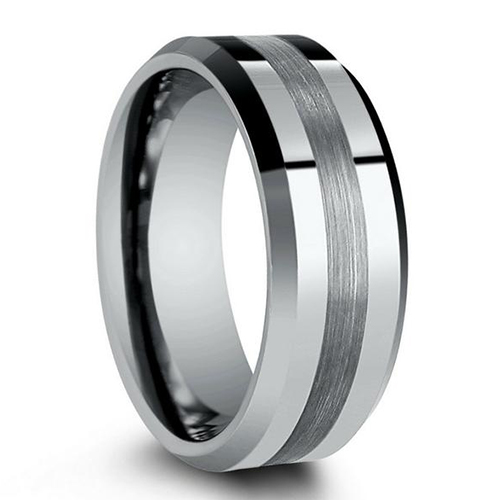 JaneE two tones rose gold tungsten mens wedding band engraved for wedding-1