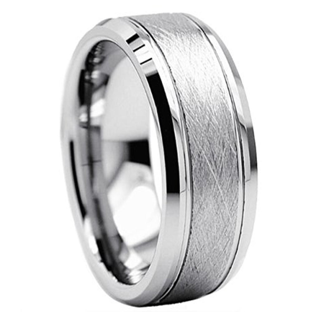 Random Brushed Tungsten Carbide   Wedding Ring for Men