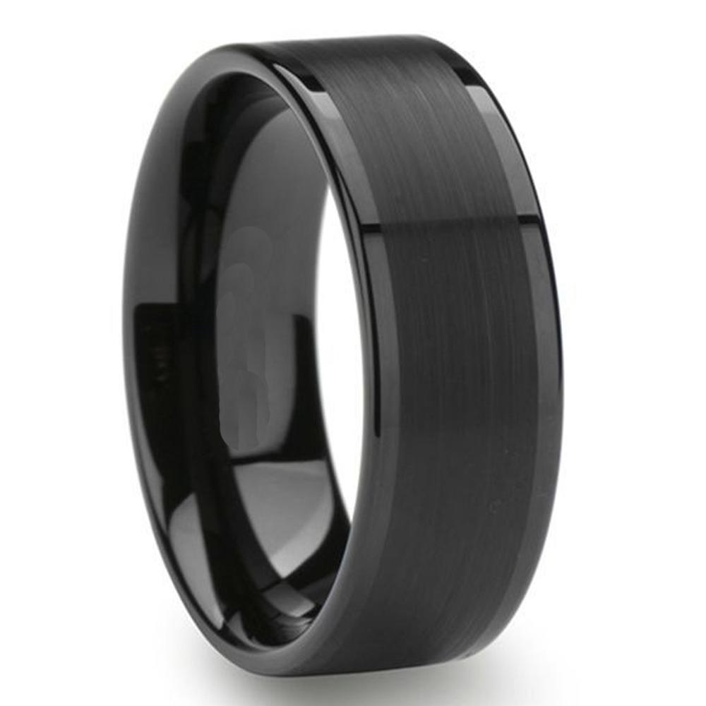 Cheap Polished and Brushed Tungsten Rings Men Wedding Band