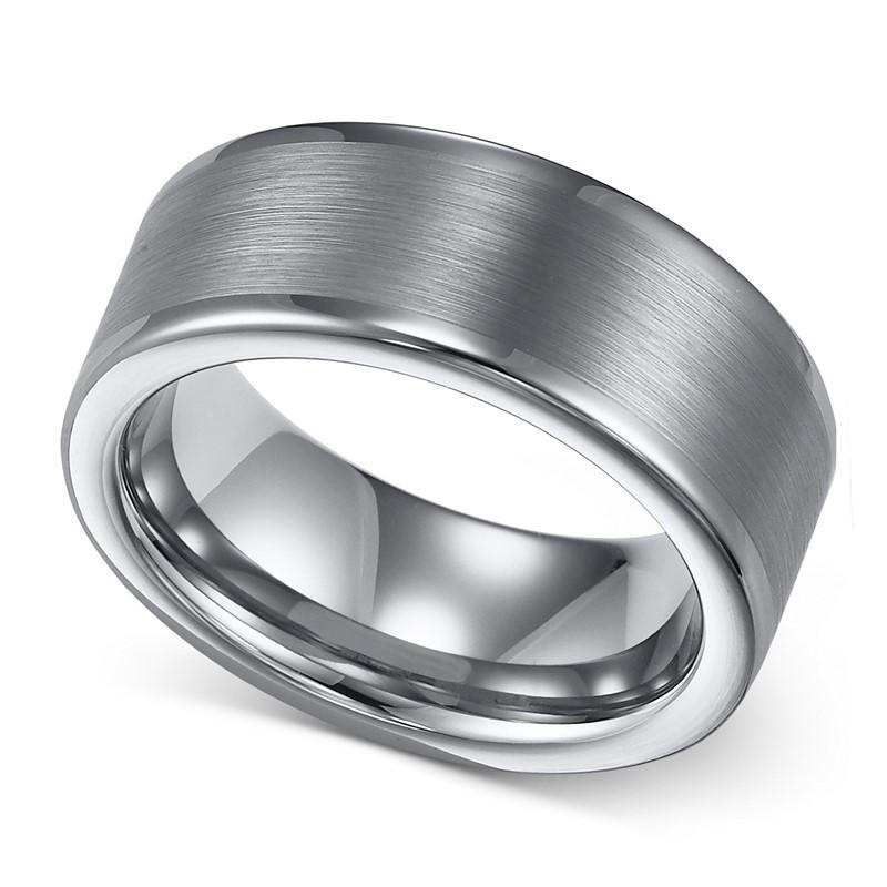 Amazon Hotsale Silver Matter Tungsten Wedding Mens Ring