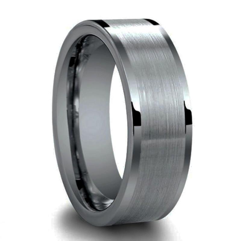 Amazon Hotsale Silver Matter Tungsten Wedding Mens Ring