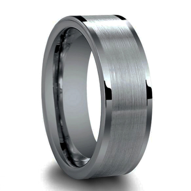 JaneE shiny polished tungsten carbide gold ring matt for gift-1
