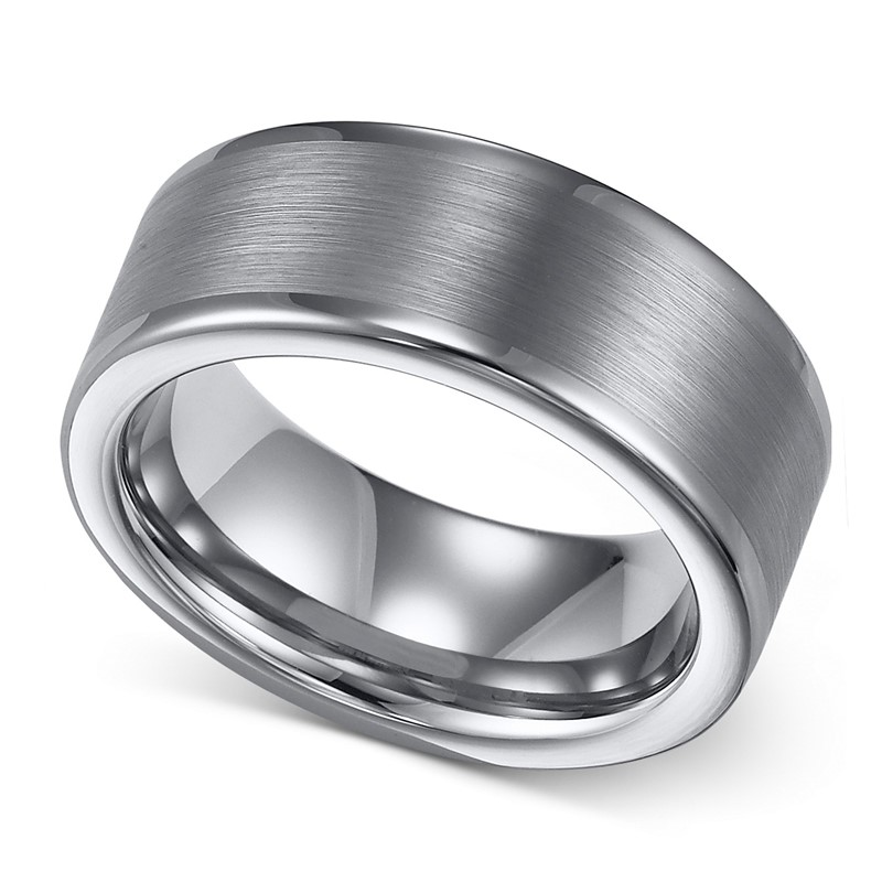 JaneE shiny polished tungsten carbide gold ring matt for gift-2