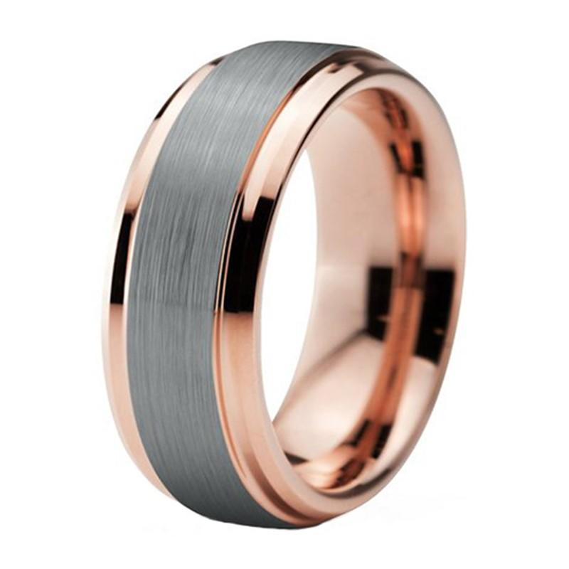 New Trendy Women Two Tone Rose Gold Tungsten Wedding Band For Men Ring