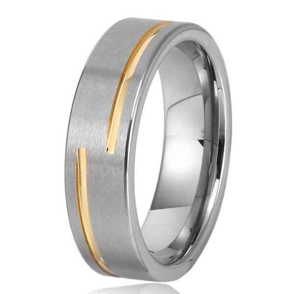Custom Fashion  Mens Ring Gold Groove Tungsten Carbide Wedding Band