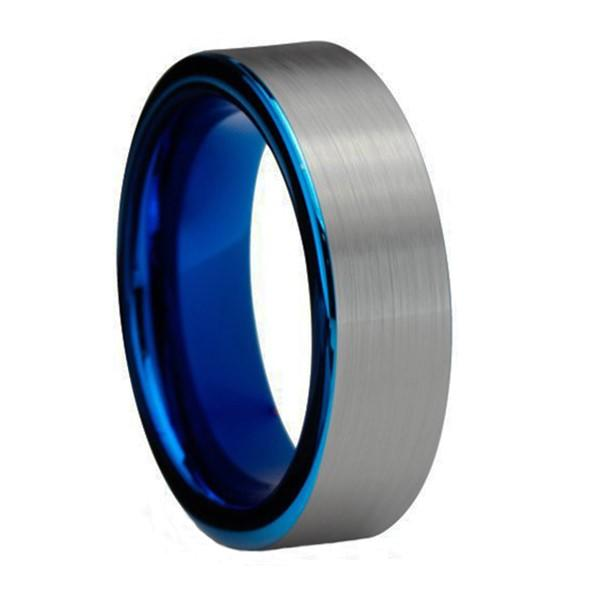 Custom Plating Blue Rose Gold Mens Tungsten Wedding Band Ring