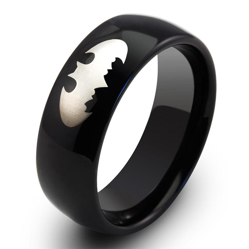Custom Engraveable Tungsten Carbide Black Ring for Men