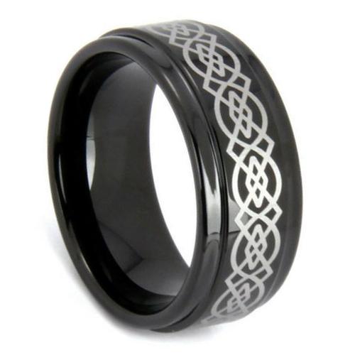 traditional black wedding rings for men koa wood engraved for gift-3