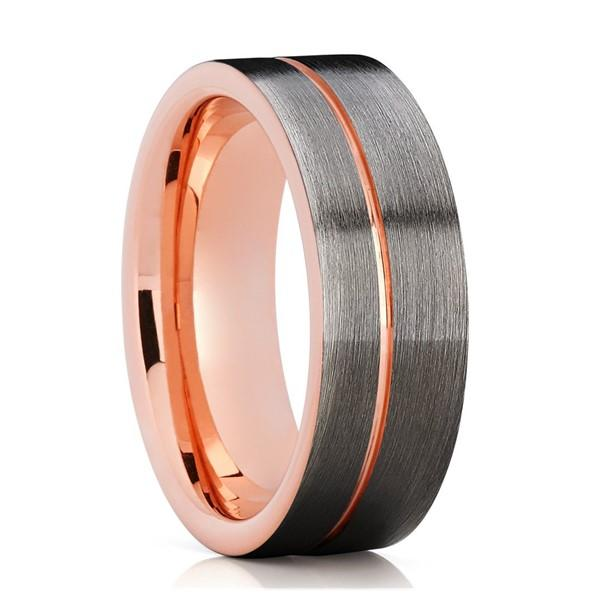 Luxury Tungsten Mens Wedding Band Women Wedding Ring Rose Gold